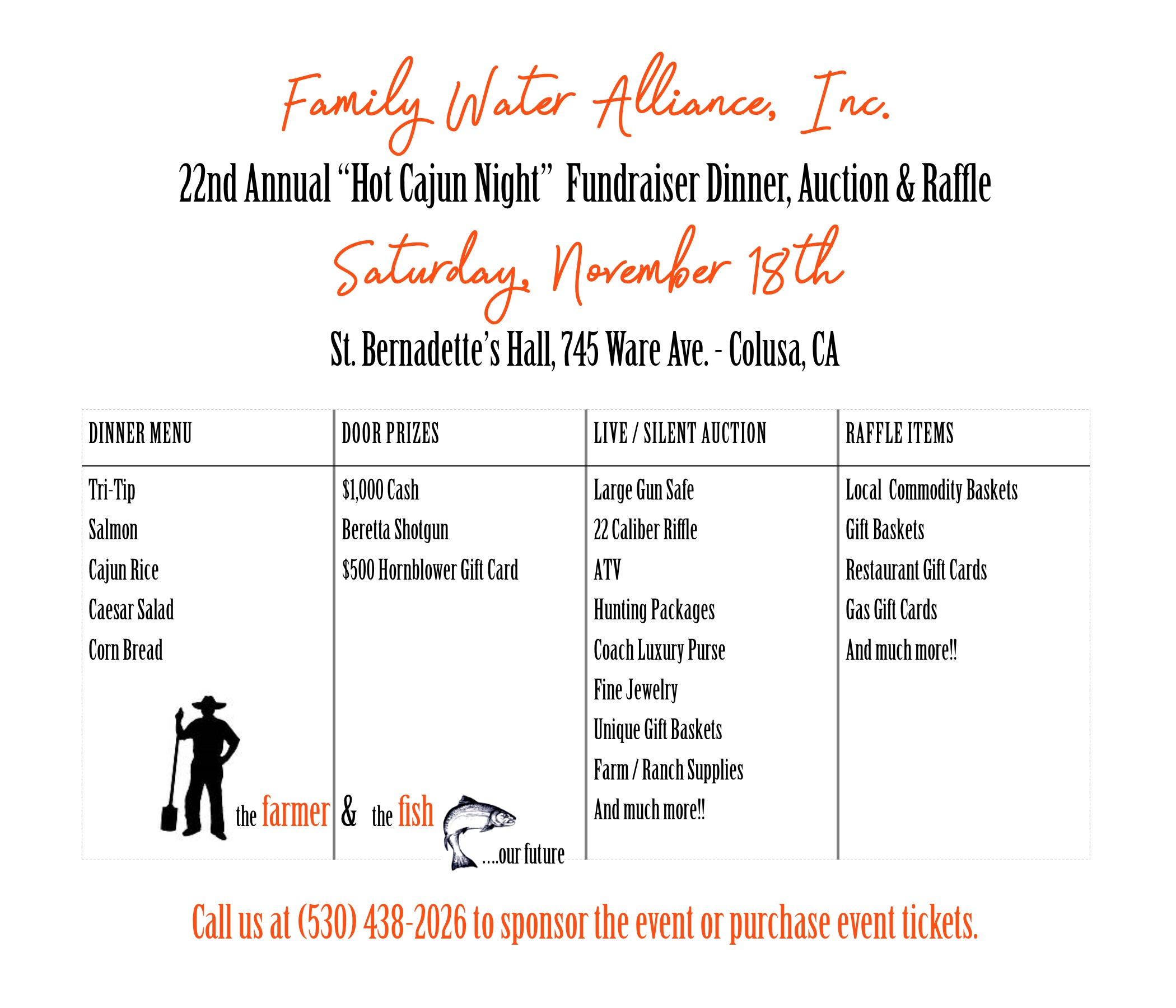 "22ND ANNUAL ""HOT CAJUN NIGHT"" FUNDRAISER DINNER, AUCTION & RAFFLE"