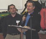 Congressman Wally Herger addresses the crowd, while FWA's past Executive Director, Jeff Sutton, looks on.