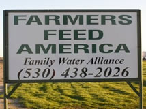 """Farmers Feed America"" sign campaign."