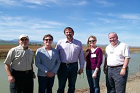 FWA's Executive Director talks Sites Reservoir with (L to R): Randy Fiorini, ACWA President; Mary Wells, NCWA; Assemblyman Doug LaMalfa; Ashley; and Glen Peterson, ACWA VP.